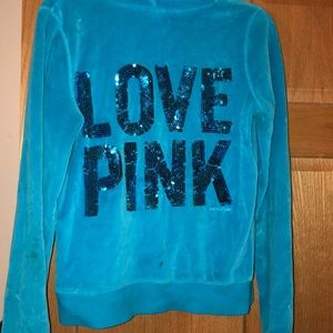 PINK Victoria's Secret Sweaters - VS PINK velour zip up hoodie